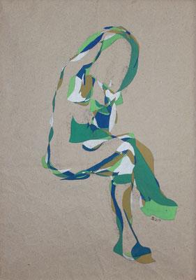 Mädchen sitzend grün, Aquarell und Buntstift auf Papier, 2017, 59 cm x 42 cm