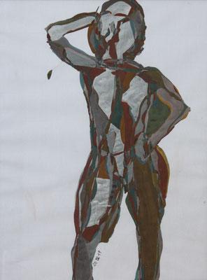 Oh Eitelkeit, Aquarell und Buntstift auf Papier, 2017, 42 cm x 29 cm