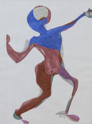 Kraftakt, Aquarell und Buntstift auf Papier, 2017, 42 cm x 29 cm