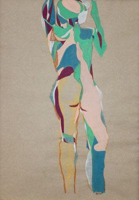 Mädchen von hinten, Aquarell und Buntstift auf Papier, 2017, 59 cm x 42 cm