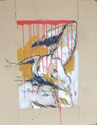 Red rain, Kohle und Acryl auf Karton, 85x67 cm, 2014