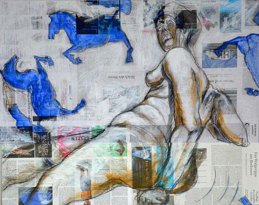 WILD HORSES, Mischtechnik auf MDF-Platte, 68x85 cm