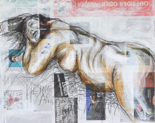 MEINE ANGST, Mischtechnik auf MDF-Platte, 68x85 cm