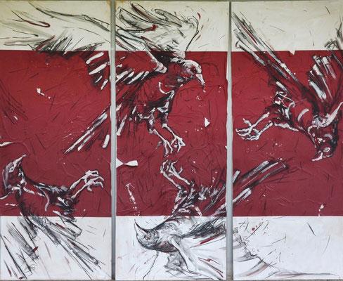 Circus Maximus, Kohle, Acryl, Papier auf MDF-Platte, 210x180 cm, 2014