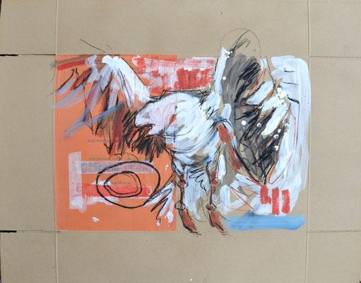 Auge um Auge,  Kohle und Acryl auf Karton, 67x85 cm, 2014