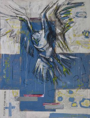 Arie an die Meister, Kohle und Acryl auf Papier/MDF-Platte, 120x80 cm, 2014