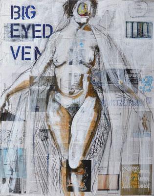 BIG EYED VENUS (KASSANDRA), Mischtechnik auf MDF-Platte, 85x68 cm
