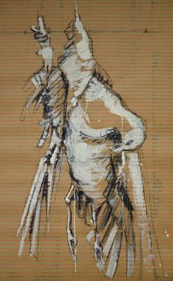 Himmelblauwärts, Kohle und Acryl auf Papier/MDF-Platte, 129x81 cm, 2014