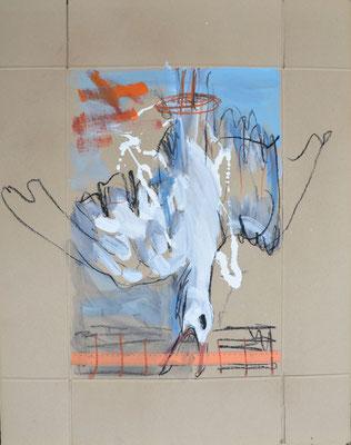 Zweipunktlandung, Kohle und Acryl auf Karton, 85x67 cm, 2014