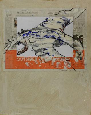 Outsider, Mischtechnik auf MDF-Platte, 85x68 cm, 2014