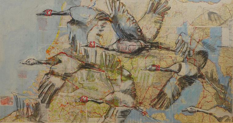 Verlorene Engel,  Kohle, Acryl, Papier auf MDF-Platte, 125x225 cm, 2014