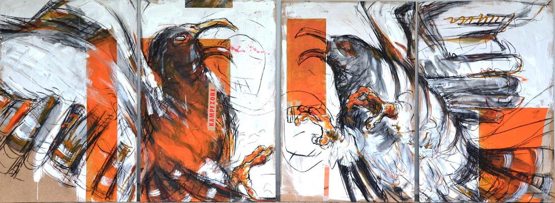 Kampfzone, Kohle, Acryl, Papier auf MDF-Platte, 120x320 cm, 2014