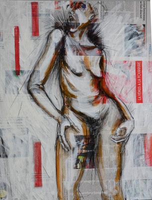 VENUS A LA FOURRURE, Mischtechnik auf MDF-Platte, 85x68 cm
