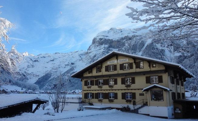 Das Hotel Garni Hostatt im Winter