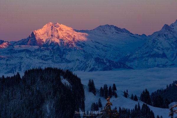 Die letzten Sonnenstrahlen beleuchten das Wetterhorn und das Mittelhorn    -L11-