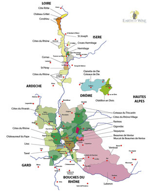 Carte des vins de la Vallée du Rhône