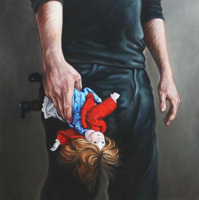 Mann mit Puppe I, 190x190cm, Öl auf Leinwand, 2009