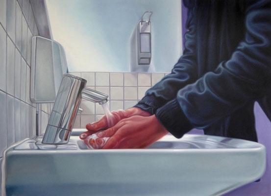 waschende Hände ( selbst in der Schirn/FfM), 160x220cm,Öl auf Leinwand, 2017