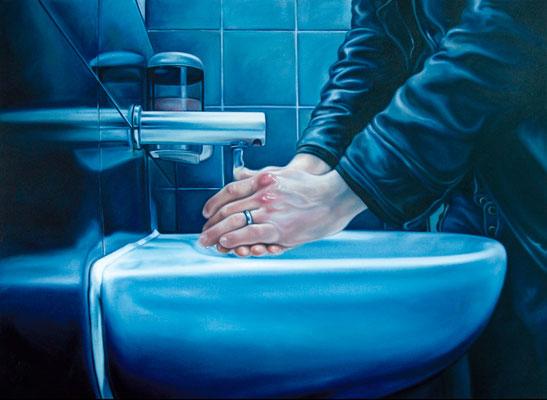 waschende Hände (selbst in der Tate Modern/London), 160x220cm, Öl auf Leinwand, 2010