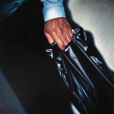 Mann mit schwarzer Tüte II, 190x190cm, Öl auf Leinwand, 2015