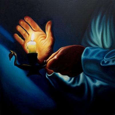 Mann mit Kerze, 120x120cm, Öl auf Leinwand, 2016