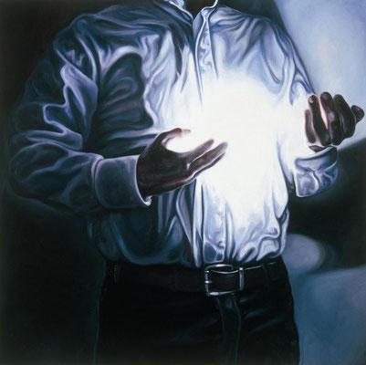 Mann mit Licht I, 190x190cm, Öl auf Leinwand, 2009