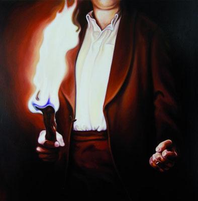 Mann mit Fackel, 190x190cm, Öl auf Leinwand, 2010