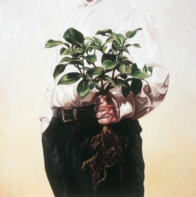 Mann mit Zitrus, 190x190cm, Öl auf Leinwand, 2009