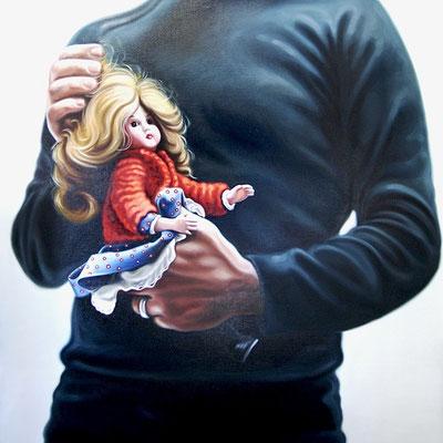 Mann mit Puppe II, Öl auf Leinwand, 2010