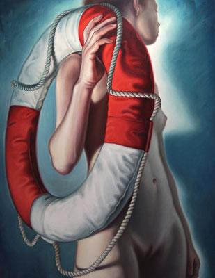 Frau mit Rettungsring, 190x140cm, Öl auf Leinwand, 2017