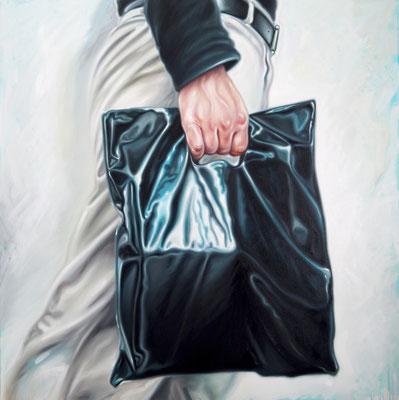 Mann mit schwarzer Tüte III, 190x190cm, Öl auf Leinwand, 2016