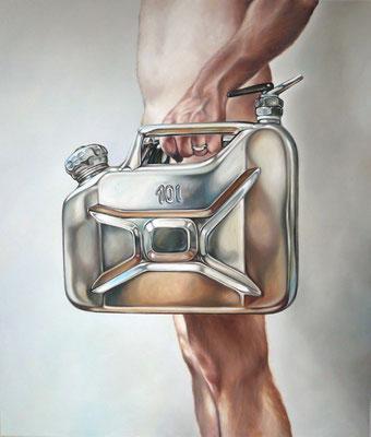 Mann mit Kanister, 230x190 cm, Öl auf Leinwand, 2009