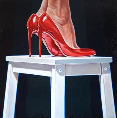 Frau auf Hocker, 160x160cm, Öl auf Leinwand, 2014