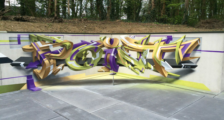 Point of view, Spray can on concrete, Mechelen, Belgium