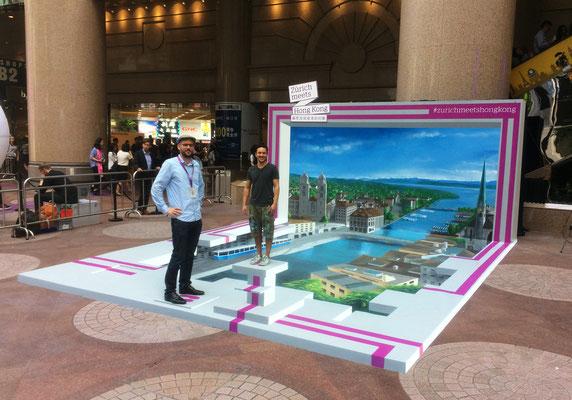 3-D Floor- and Wall painting :  Hong-Kong for Zurich meets Hong-Kong