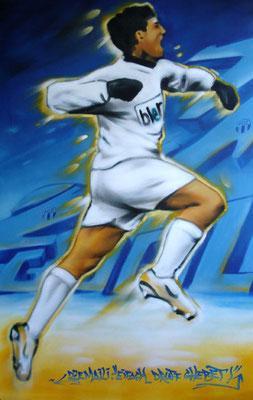 Bild für Blerim Dzemaili. Spraydose auf Leinwand, 200 cm x 120 cm
