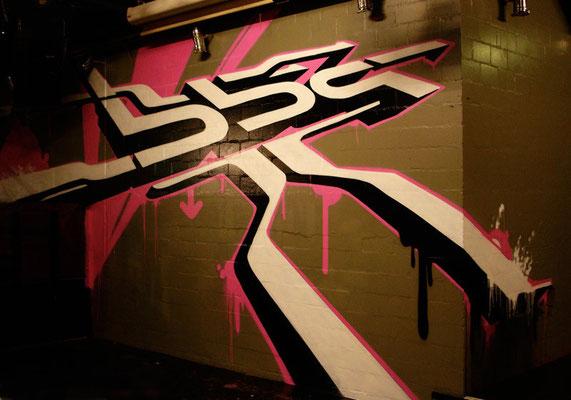 Wandgestaltung im BBQ Zürich, Spraydose auf Wand