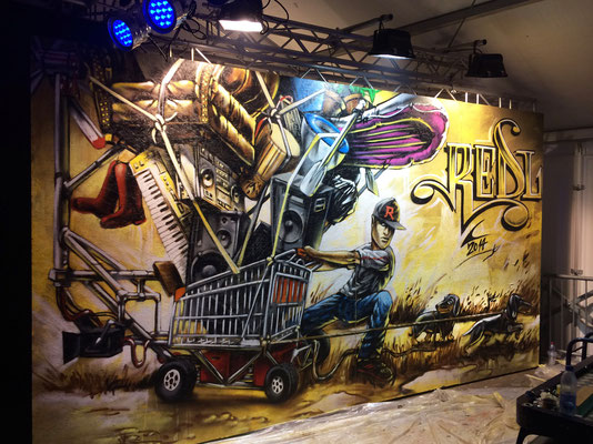 Live Painting at Openair Frauenfeld 2014. 2.8 m x 5.5 m