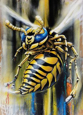 The Wasp: Mischtechnik, Aqryllack und Spraydose auf Holz. 89 cm x 60 cm