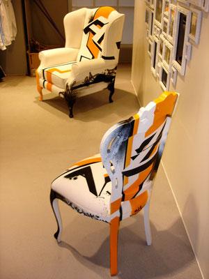 Gestaltung von zwei Stühlen für Adidas, Marker und Spraydose