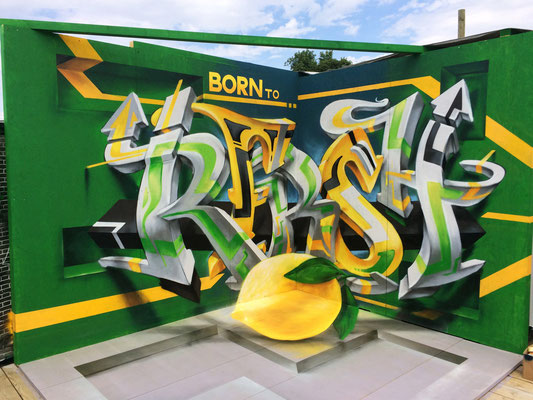 Point of view, Spray can on wood. At Openair Frauenfeld for Sprite.