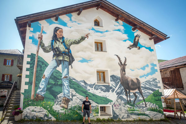 "Mural ""Andiamo"", 2019. Bivio, Switzerland. 11m x 12.0m. Acrylic and Spraycan"