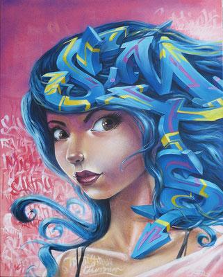Spray can and acryl on canvas. 100 cm x 80 cm