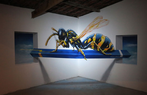 Corner Piece at Casa Melucia, Canoa Quebrada - Brasil. Anamorphic painting Spraycan on wall. 6 m x 2.6 m.