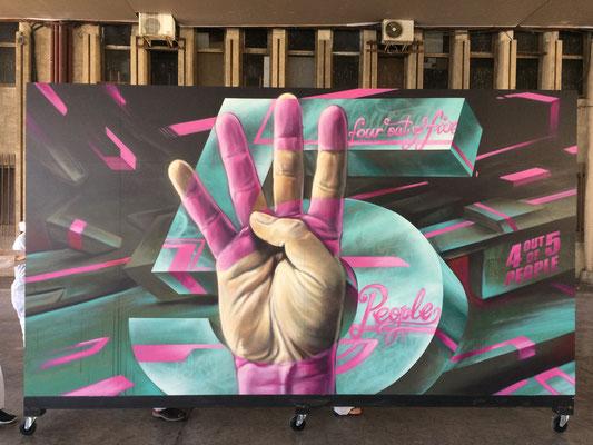 Spray can on wood, 420 cm x 240 cm. For Valencia Kommunikation