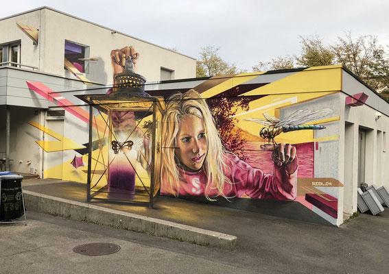 Anamorphic Mural Sunny on 4 Walls. Fischers Fritz Zurich