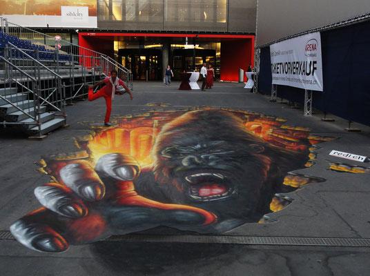 3-D Floorpainting:  Für 3D Cinema Festival. Sihlcity Zürich