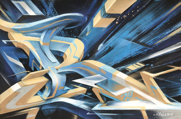 Spray can and acryl on canvas. 120 cm x 80 cm