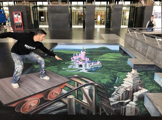 3-D Floor-painting :  Zurich, for Disney Park Paris