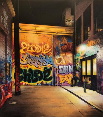 Graffiti Alley. 2020. Spray can and acryl on canvas. 199 cm x 224 cm